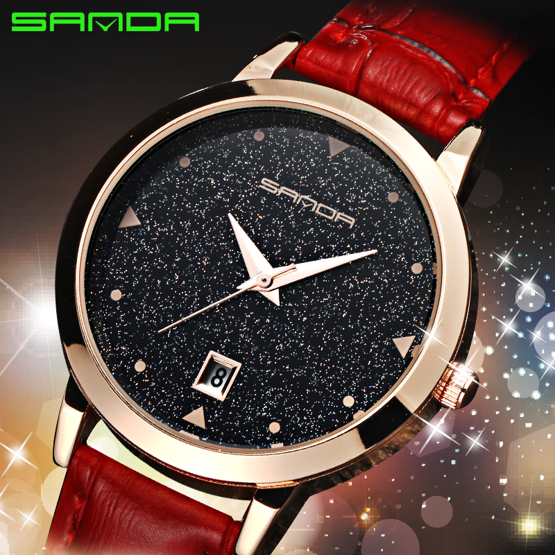 Prix pour 2017 sanda femmes bracelet à quartz montres mode casual montres simple creative étoile cadran bracelet en cuir étanche montres relogio