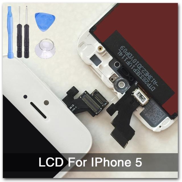 Blanco garantía 100% a + + + pantalla para iphone 5 lcd pantalla táctil del reemplazo del digitizador assembly + herramientas