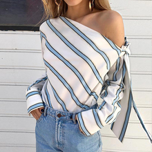 Women One Shoulder Top Skew Collar Blouses Striped Long Sleeve Blouse Shirts недорого