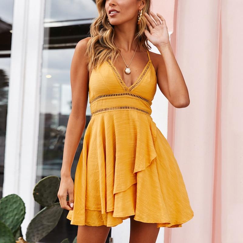 DeRuiLaDy 2019 New Women 100% Cotton Spaghetti Strap Summer Dress Sexy Yellow V Neck Ruffles Mini Dresses Casual Beach Dress 3
