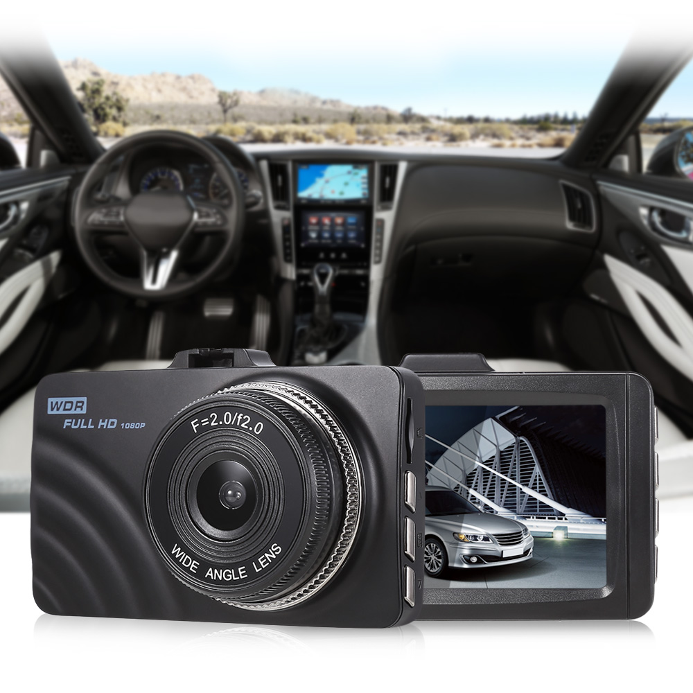 RM - AKL7D 3-inch Dash Cam 1920 x 1080P FHD Resolution 120 Degree Wide Angle Lens Driving Recorder G-sensor Loop Record