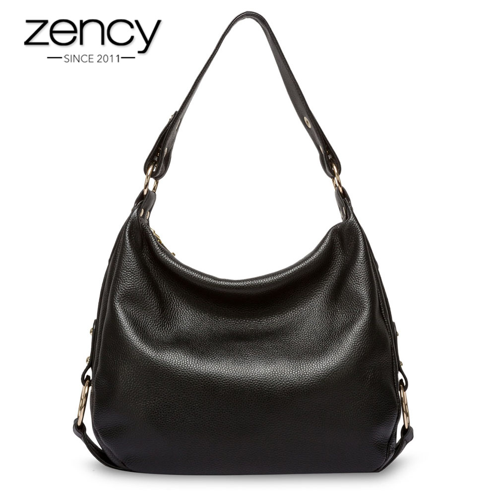 Zency 100% Genuine Leather Handbag Charm Women Shoulder Bag Black Fashion Lady Crossbody Messenger Purse High Quality Satchel women shoulder bag top quality handbag new fashion hot lady leather purse satchel tote bolsa de ombro beige gift 17june30