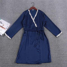 Fashion Women's Robes Bridesmaid Wedding Robes Free Shipping 2017 Spring New Design Bathrobe Kimono vestido Longo Lace Satin Hot(China)