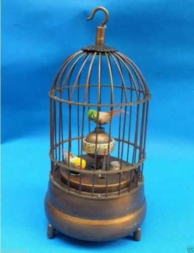 Arts Crafts Copper Exquisite Chinese brass bird cage Mechanical Table Clock Alarm Clock statue