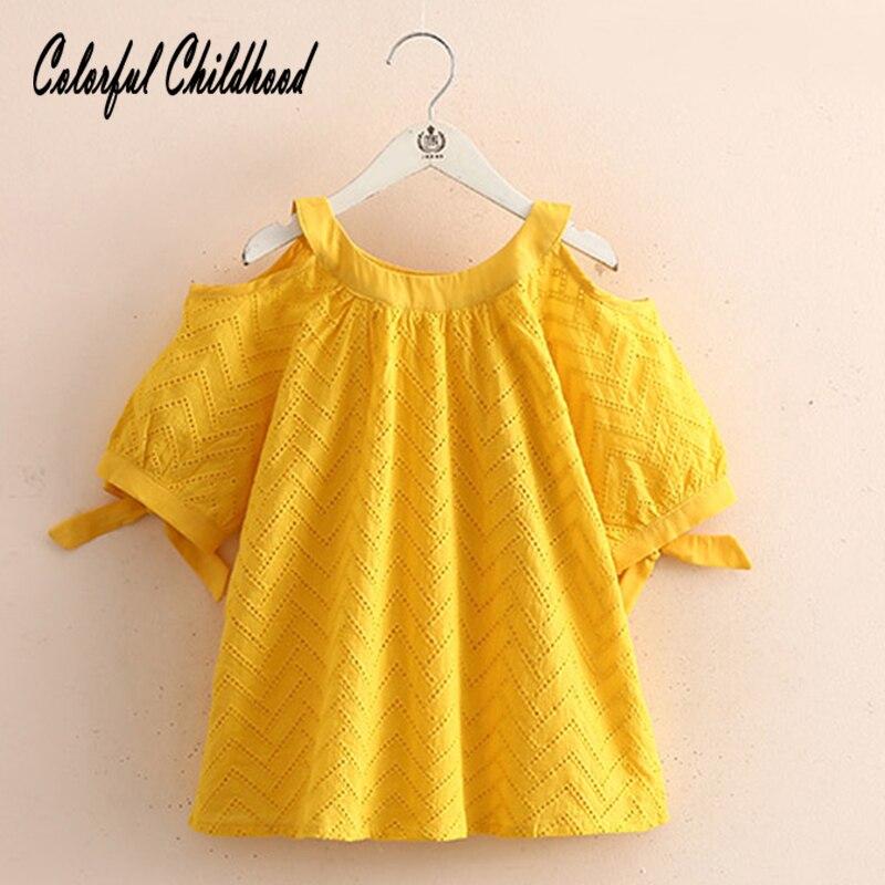Блузка для крупных девочек; летняя хлопковая кружевная рубашка с рукавами средней длины для детей; топы; рубашка для малышей; одежда для дет...