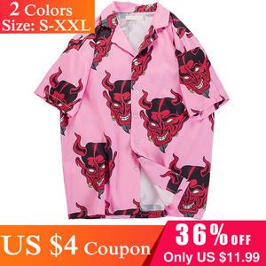 69287235a21 Men s Hawaiian Shirt Plus Size Blouse Tshirt Top Devil Printed Shirt Mens  Clothing Short Sleeve Shirt Streetwear T Shirt 01A00AL