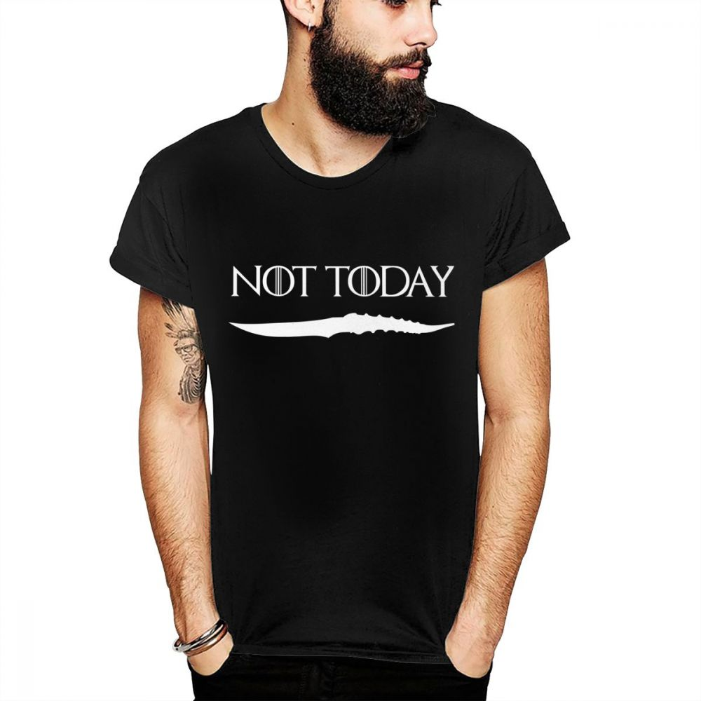 c584ee79 ARYA STARK NOT TODAY GAME OF THRONES Tee Shirt For Man Novelty Design House  Black And White GOT T Shirt