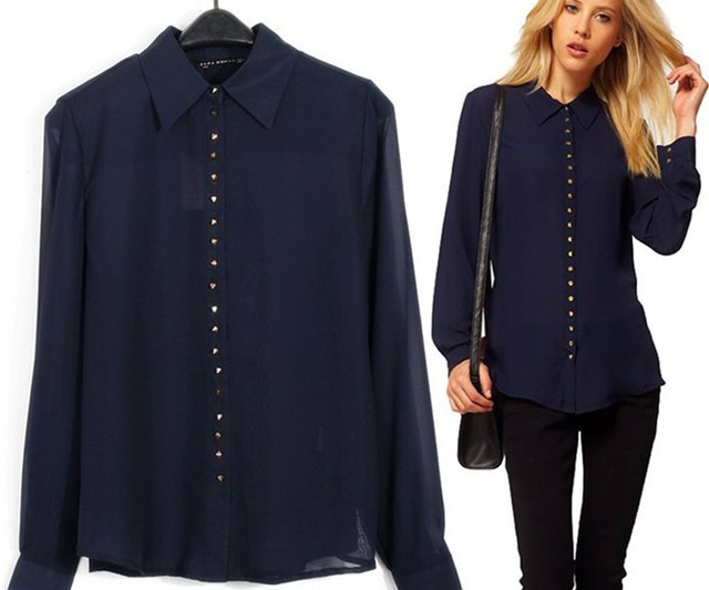 new 2014  women blouses autumn-summer chiffon shirts with rivet blouses free shipping to brazil russian federation
