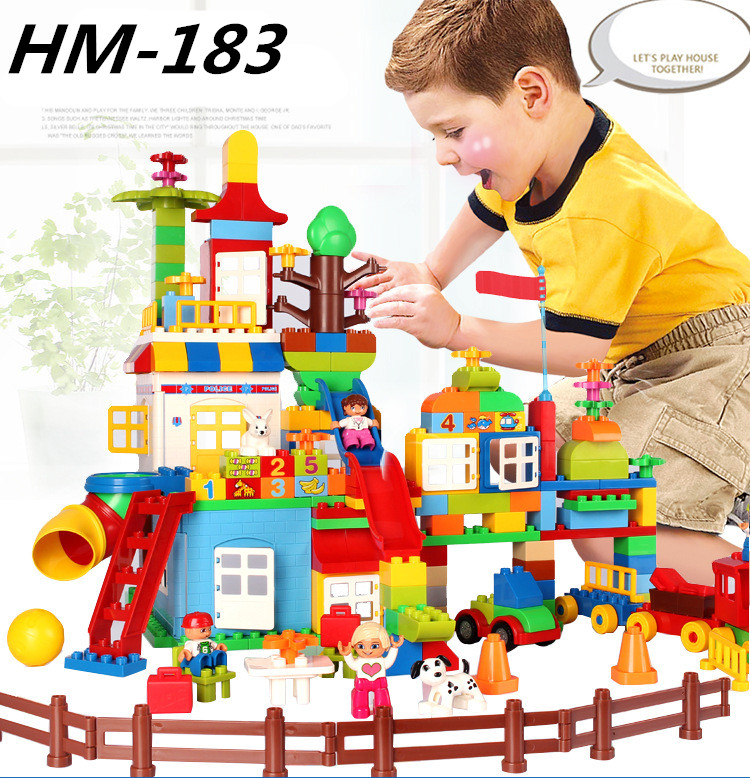 NEW HM183 210pcs My First Castle Amusement Park Model Big Particle Building Block Brick Toys for Children Compatible With Duploe new lepin 16008 cinderella princess castle city model building block kid educational toys for children gift compatible 71040