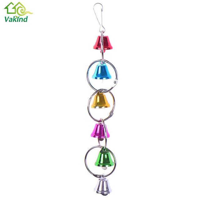 Colorful Parrot Bird Toys Metal Ring Bell Hanging Cage 1