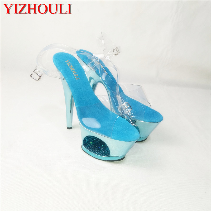 Transparent fish-beaded high-heeled shoes/hollowed-out sandals/stage fashion runway shoes, 17cm heel height themost sexy fish mouth hollowed out roman sandals fashion foreign trade european and american style four colors can be selected