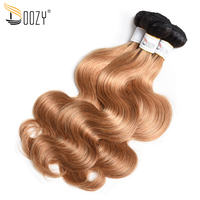 Doozy ombre honey blonde Brazilian body wave hair bundles double weft two tone color 1b/27 remy human hair weaving