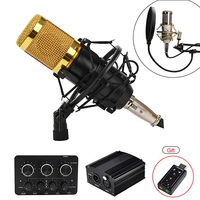 BM 800 Condenser Microphone bm800 48V Phantom Power Mic Sound Card With Stand Pop Filter Tritop for Computer PC Video Recording