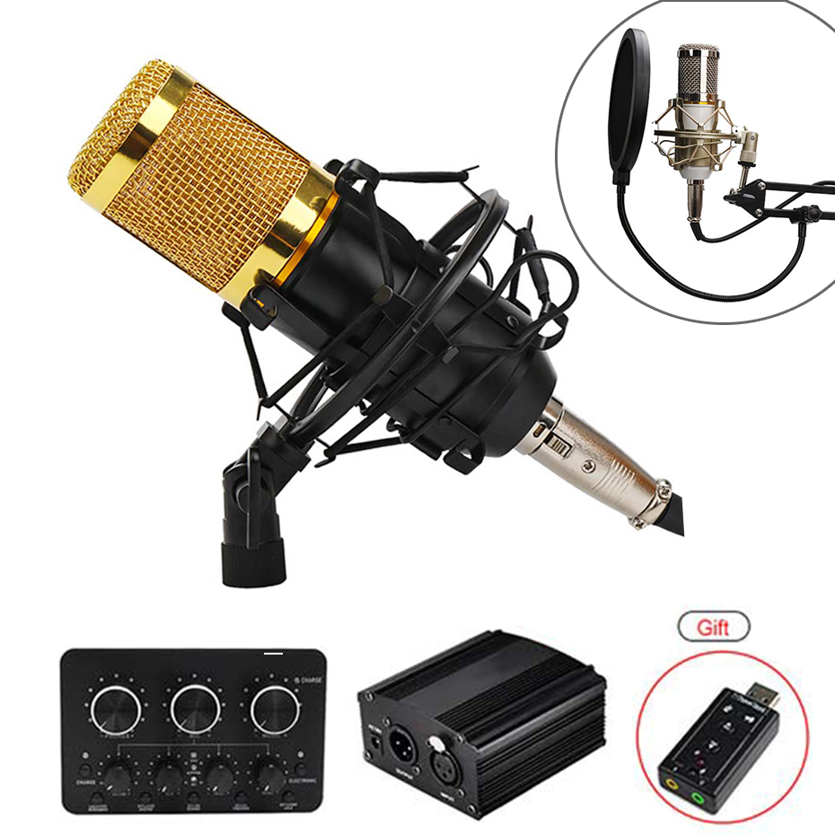 BM 800 Condenser Microphone <font><b>bm800</b></font> 48V <font><b>Phantom</b></font> <font><b>Power</b></font> Mic Sound Card With Stand Pop Filter Tritop for Computer PC Video Recording image