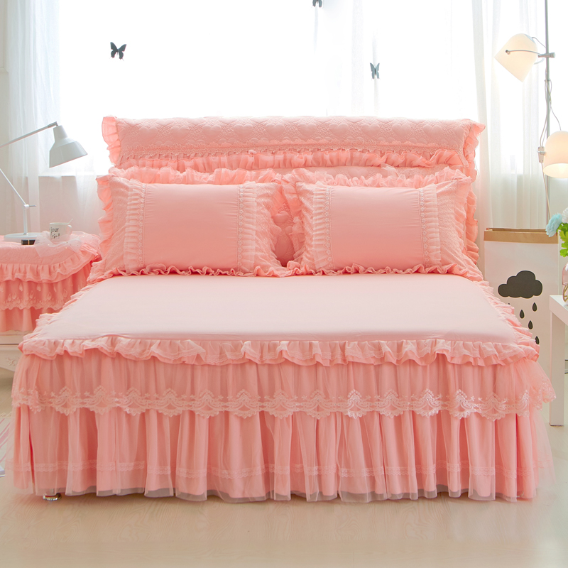 Free Shipping 3Pcs Polyester Cotton Princess Lace Beige Purple Pink Bed skirt Full/Queen/King Size Bedspread Pillowcase