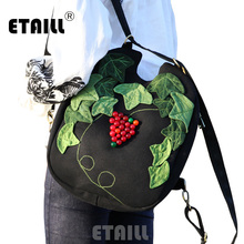 ETAILL Chinese National Tide Beading Grape Appliques Backpack Women Vintage Female Travel Bag College Girl School