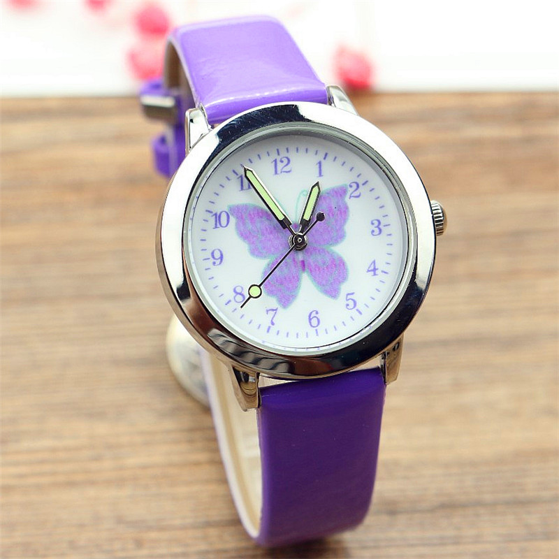 Free shipping kids lovely butterfly dial quartz watch little boys and girls leanr to time animals face luminous hands gift clock(China)