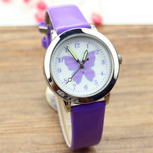 Free shipping kids lovely butterfly dial quartz watch little