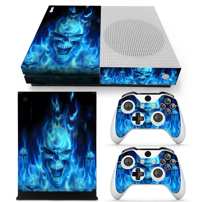 Blue Skull Style For XBOX ONE Slim Game Console Sticker Cover Vinyl Decals and 2PCS Controllers Skins For Xbox One Slim Sticker