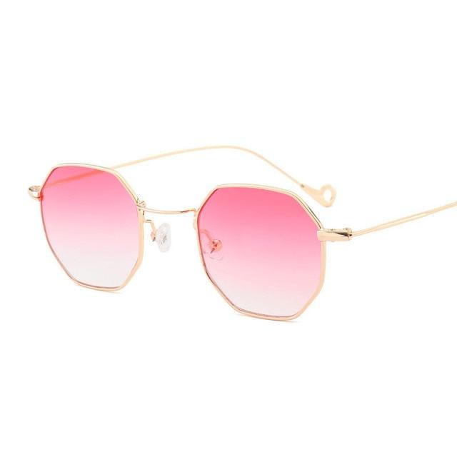 Baru Fashion Ocean Polygon Kacamata Wanita Berwarna Hijau Pink Abu-abu  Bingkai Logam Cermin Kaca 7ab8b11279