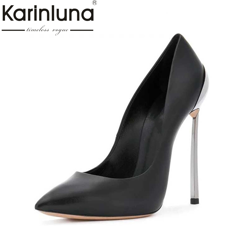 Karinluna Big Size 33-43 12cm High Heels Party Banquet Spring Shoes Pumps Sexy Pointed Toe Slik Women Shoes Woman big size 40 41 42 women pumps 11 cm thin heels fashion beautiful pointy toe spell color sexy shoes discount sale free shipping
