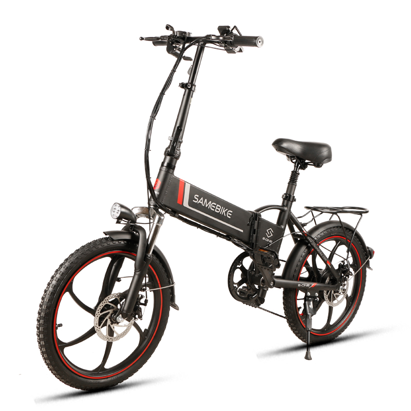 """Samebike 20LVXD30 Aluminum Alloy Foldable Electric Bicycle 48V8AH Max 25 Km/H 20"""" X 1.95"""" Tires With Adjustable Phone Holder"""
