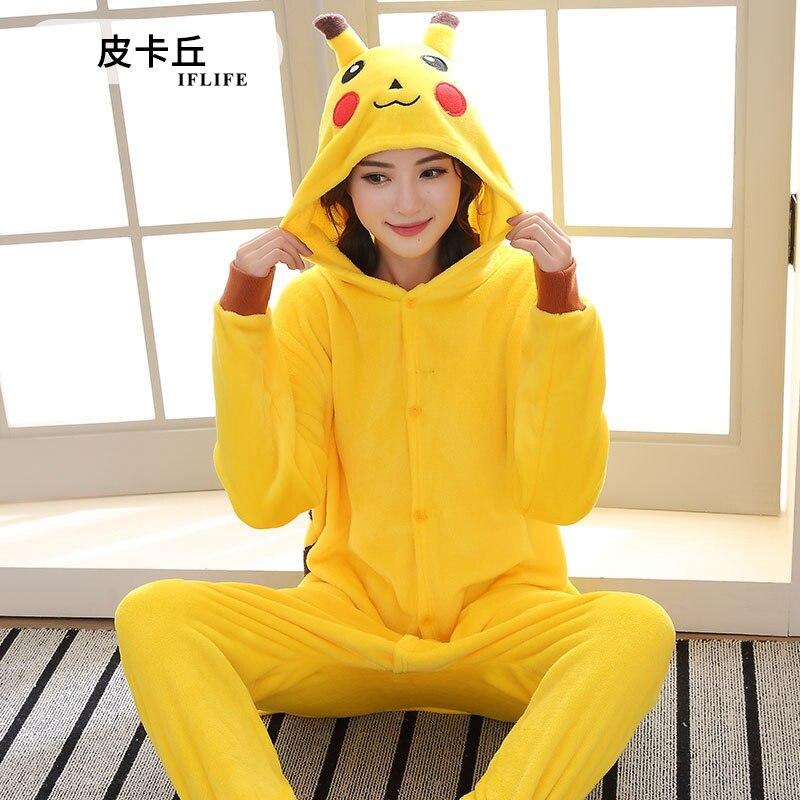 Adults Animal Kigurumi Pikachu   Pajamas     Sets   Sleepwear Cosplay Zipper Onesie Hooded Women Men Winter Unisex Cartoon   Pajamas