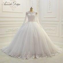 Amanda Chen Charming Long Sleeve Ball Gown Wedding Dresses