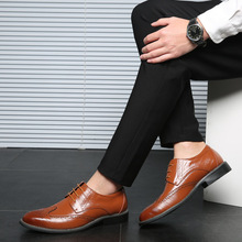 2019 New High Quality Genuine Leather Men Brogues Shoes Lace-Up Bullock Business Dress Men Oxfords Shoes Male Formal Shoes