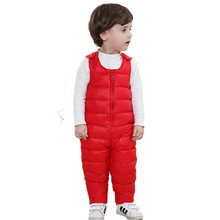 2016 Winter Autumn Warm Children Duck Down Pants Overalls for Baby Girls Boys Thick Trousers Kids Bib Clothes 9M-4Y