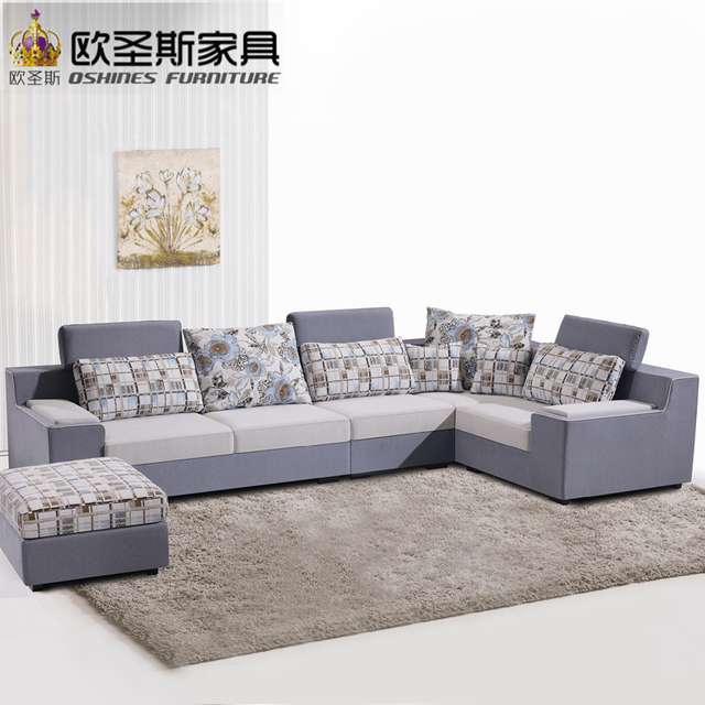 Suede Living Room Furniture Cheap Sets Fair Low Price 2017 Modern New Design L Shaped Sectional Velvet Fabric Corner Sofa Set X295