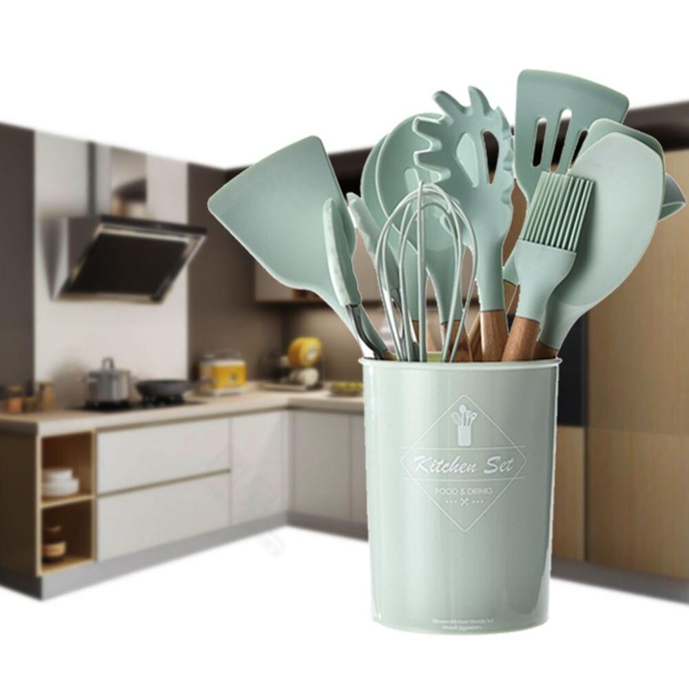 12 Pcs Best Kitchen Set Cooking Utensil Tools Set Kitchen Utensils Silicone with Holer Wooden Spatula Cookware Set Kitchenware