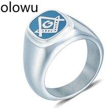 Olowu Для мужчин кольца Новое поступление уникальный Нержавеющая сталь масонское кольцо из Серебра Голубой цвет масон, Масонство кольца для Для мужчин