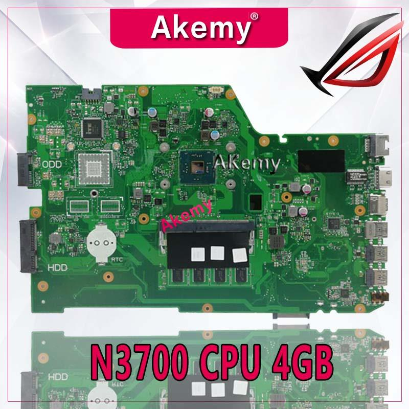 Akemy X751SA Laptop motherboard N3700 CPU 4GB for ASUS X751S X751SJ X751SV Test mainboard X751SA motherboard