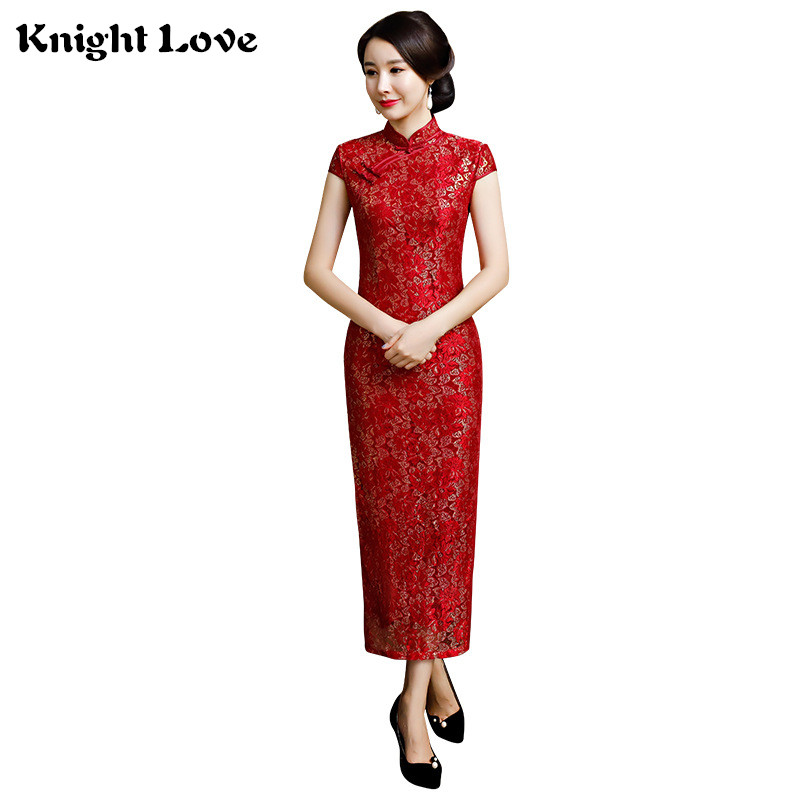 Long Chinese Traditional Dress Red Lace Qipao Evening Dresses Vestidos Cheongsam Embroidery Lady Chinese Wedding Dress M-3XL image