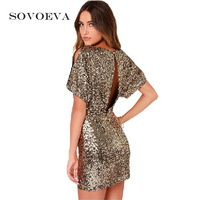 SOVOEVA 2017 Sexy Dress Club Wear Backless Sequin Dress Summer Fashion Women Party Short Mini Sheath