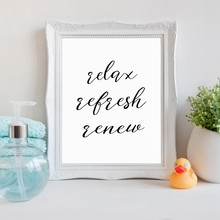 Bathroom Modern Decor Wall Art Print - Relax Refresh Renew Quote Canvas Poster , Spa Beauty Salon Bathroom Poster Wall Decor(China)