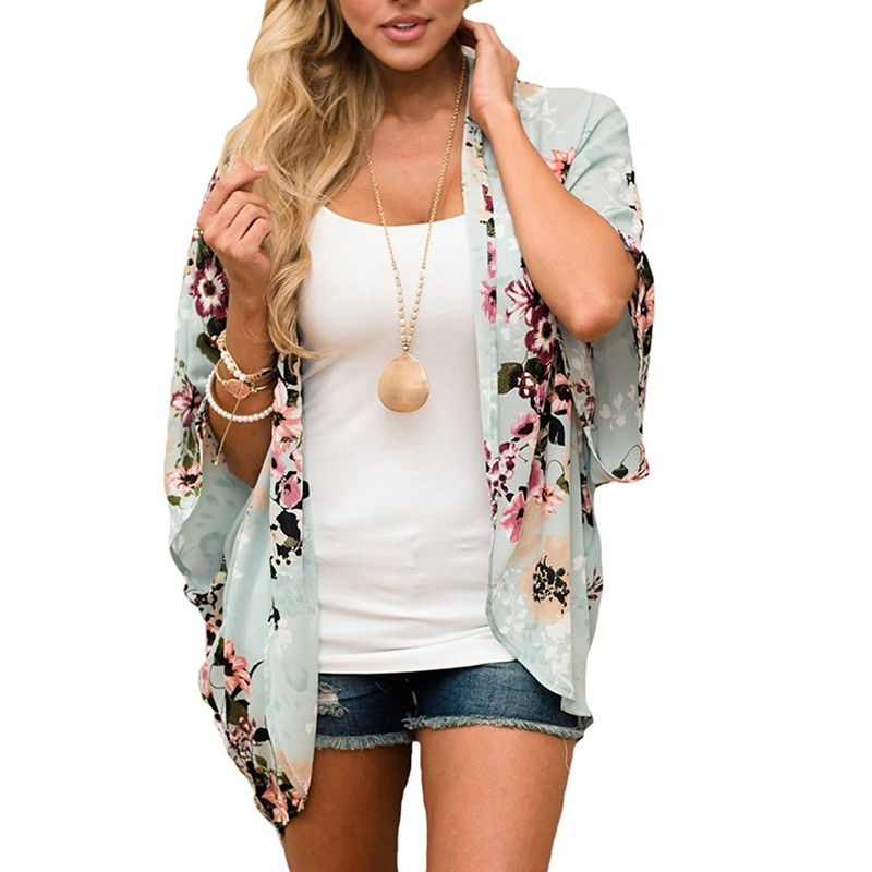 Women Casual Vintage Kimono Cardigan Ladies 2018 Summer Long Crochet Chiffon Kimono Preto Loose Flora Printed Blouse Tops