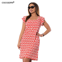 COCOEPPS New Geometric Print Women Dress 2017 Summer Big Size Ruffles Femme Dresses Large Size Ladies
