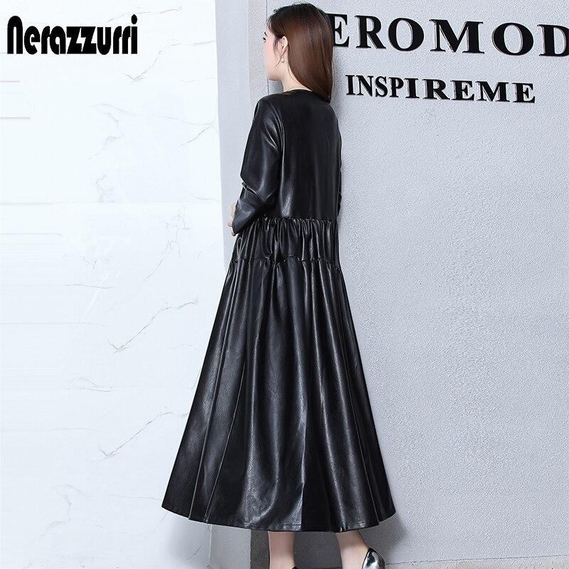 Nerazzurrri pu cuir robe femmes rouge gris noir robe de grande taille 5xl 6xl 7xl manches longues élégante plissée maxi robe automne 2019 - 4