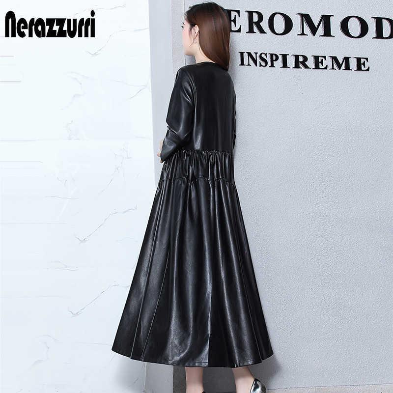 Nerazzurrri платье из искусственной кожи женское красное, серое, черное, плюс размер платье 5xl 6xl 7xl элегантное Плиссированное Макси платье с длинным рукавом Осень 2019 кожаное платье теплое женское большой размер