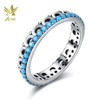 ANGG Real 925 Sterling Silver Turquoise Finger Ring Vintage Fine Party Jewelry Ladies Jewelry Birthday Gift