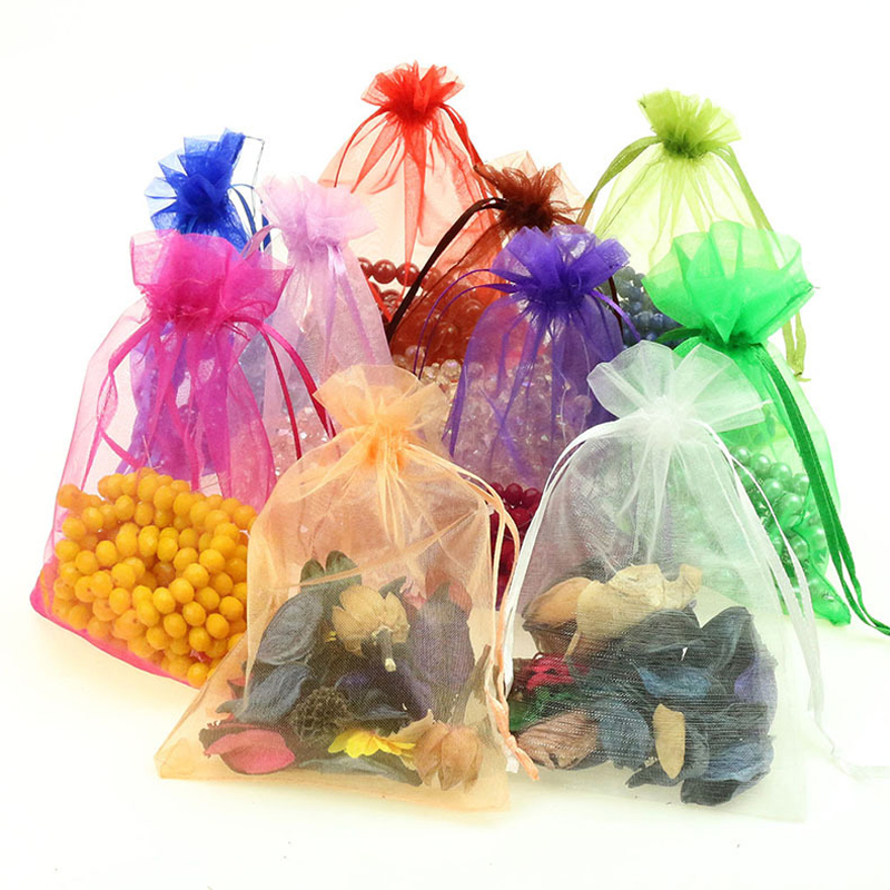 Hot Sale 50pcs/lot 10x15cm Organza Gift Packaging Bags Mixed Color Jewelry Organza Bags Christmas Wedding Gifts Packing Pouches 25 35cm 10 pcs lot faory christmas organza bags mini plastic bags