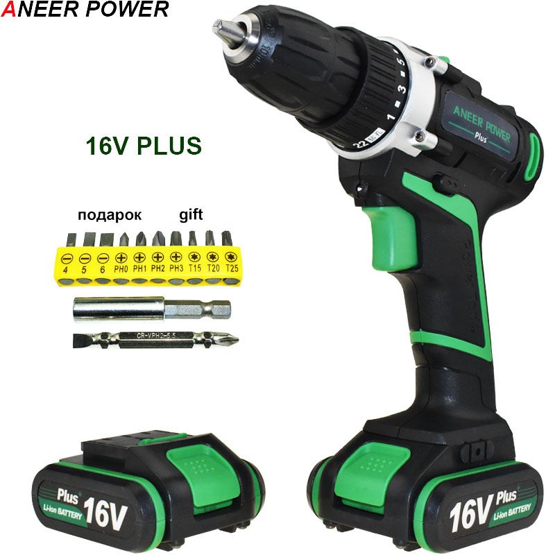 16V Plus Mini Electric Screwdriver Electric Drill Electric Batteries Screwdriver Hand Cordless Drill Power Tools Drill Drilling free shipping brand proskit upt 32007d frequency modulated electric screwdriver 2 electric screwdriver bit 900 1300rpm tools