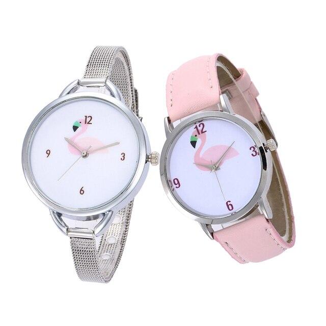 New Watches Women Fashion Flamingo Printed Leather Strap Analog Quartz Wrist Wat