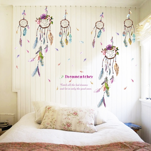 Quote dreamcatcher dream catcher vinyl removable stickers for Children s bathroom designs