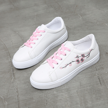 Embroidery Flower Shoes Women White Sneakers Female Soft Breathable Casual