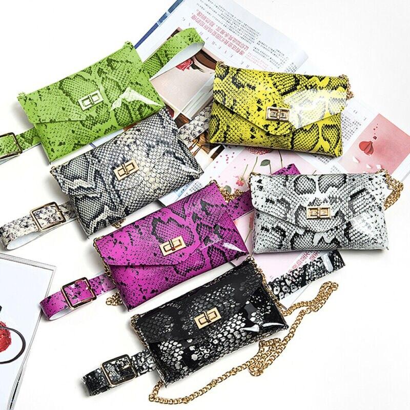Women Leather Handbag Shoulder Lady Cross Body Bag Tote Messenger Satchel Purse Ladies Snake Aist Packs Women Small Belt Bags