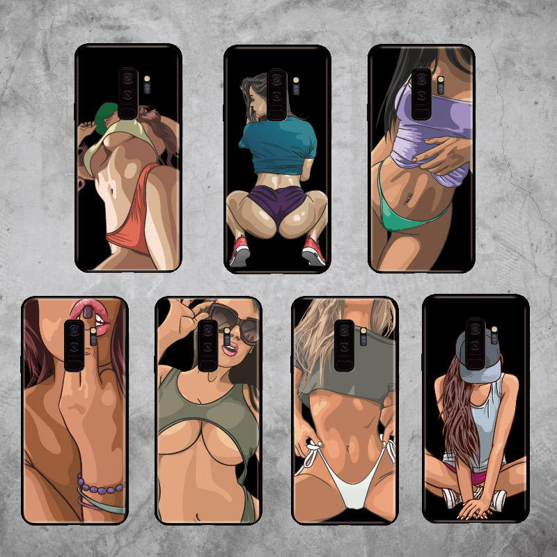 For Samsung Galaxy <font><b>S8</b></font> S9 S10 S10e Plus E lite Note 8 9 10 A7 A8 <font><b>Sexy</b></font> Hot Girl Fashion Instagram Cool Soft Bumper Phone <font><b>Case</b></font> image