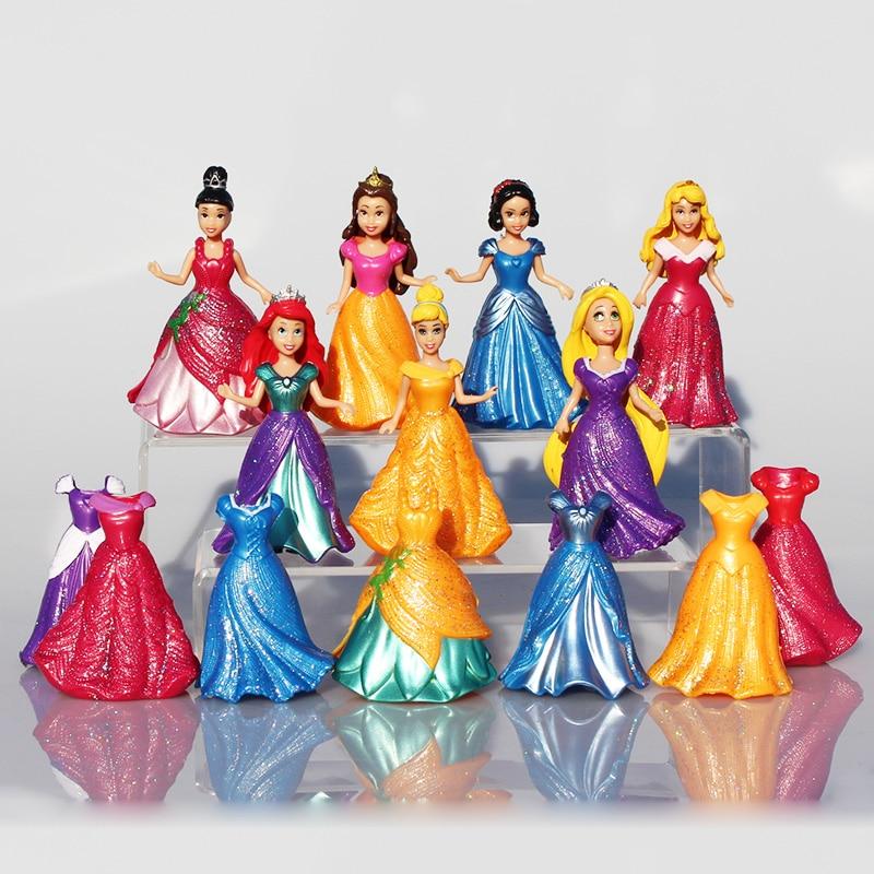 14 unids/set princesa Blancanieves figuras Ariel Belle Rapunzel Aurora PVC figura de acción juguetes muñecas vestido ropa cambiable 8 9 cm